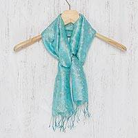 Rayon and silk blend scarf, 'Aqua Bouquet' - Aqua Floral Pattern Scarf from Thailand