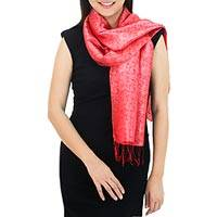 Scarf, 'Crimson Bouquet' - Red Floral Rayon and Silk Thai Scarf