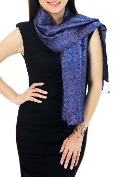 Scarf, 'Navy Blue Bouquet' - Dark Blue Woven Floral Scarf from Thailand