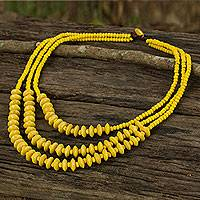 Wood beaded necklace, 'Happy Yellow' - Artisan Crafted Yellow Wood Beaded Waterfall Necklace