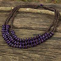 Wood beaded necklace, 'Happy Purple Brown' - Artisan Crafted Purple Wood Beaded Waterfall Necklace