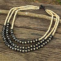 Wood beaded necklace, 'Happy Black Beige' - Artisan Crafted Black Beige Wood Beaded Waterfall Necklace