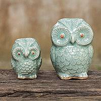 Celadon ceramic figurines, 'Little Light Blue Owls' (pair) - Hand Made Celadon Ceramic Owl Figurines from Thailand (Pair)