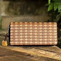 Paper and cotton wallet, 'Basketweave' - Thailand Fair Trade Wallet Crafted from Paper Cords