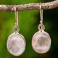 Rose gold plated rose quartz dangle earrings, 'Morning Rose'