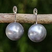 Cultured pearl drop earrings, 'Shadowy Moon' - Handcrafted Gray Pearl Drop Earrings from Thai Artisan