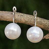 Cultured pearl drop earrings, 'Pale Moon' - Fair Trade Cultured Freshwater Pearl Drop Earrings