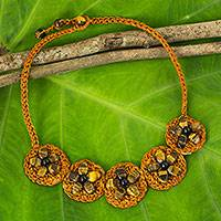 Tiger's eye flower necklace, 'Blossoming Rhyme' - Artisan Crafted Orange Cord Necklace with Tiger's Eye