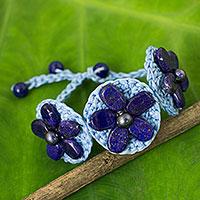 Lapis lazuli flower bracelet,