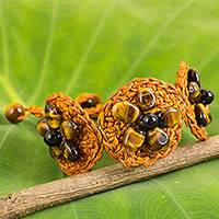 Tiger's eye flower bracelet, 'Blossoming Rhyme' - Tiger's Eye Bracelet on Hand Crocheted Orange Cords