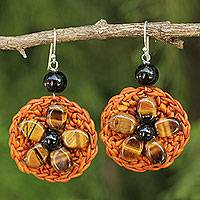 Tiger's eye flower earrings, 'Blossoming Rhyme' - Hand Crocheted Orange Earrings with Tiger's Eye Flowers