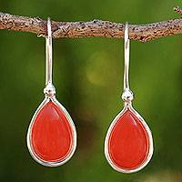 Carnelian dangle earrings, 'Autumn Rain' - Natural Carnelian and Sterling Silver 925 Dangle Earrings