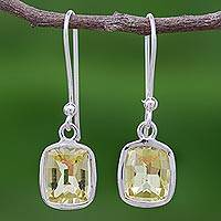 Lemon quartz dangle earrings, 'Autumn Sunshine' - Princess Cut 12 Ct Lemon Quartz and Silver Dangle Earrings