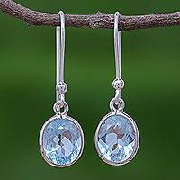 Blue topaz dangle earrings, 'Autumn Sky' - Sterling Silver and Blue Topaz Dangle Style Earrings