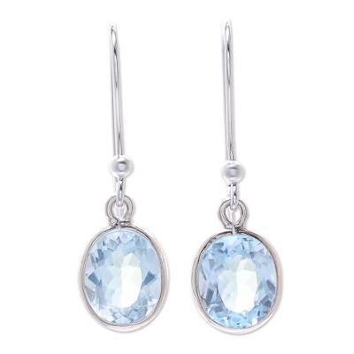 Sterling Silver and Blue Topaz Dangle Style Earrings