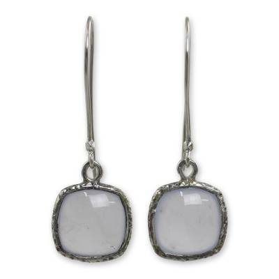 Pale Blue Chalcedony Earrings with Hammered Sterling Silver