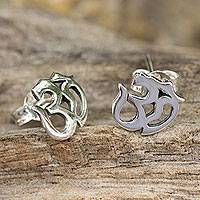 Sterling silver stud earrings, 'Om Symbol' - Polished Silver Om Symbol Stud Earrings from Thai Artisan