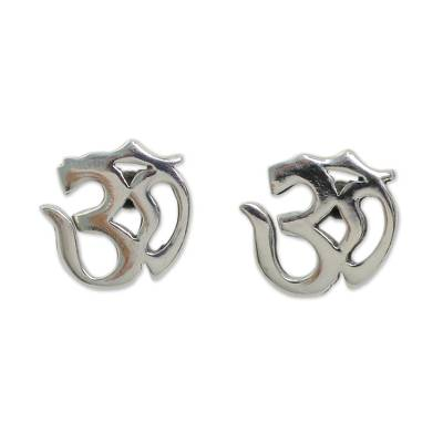 Polished Silver Om Symbol Stud Earrings from Thai Artisan