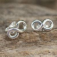 Sterling silver stud earrings, 'Infinite Style' - Fair Trade Infinity Symbol Earrings in 925 Sterling Silver