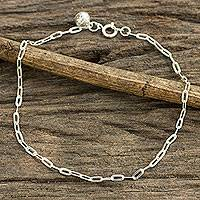 Sterling silver anklet, 'Simple Joy' - Matte Finish Sterling Silver Chain Anklet from Thai Artisan