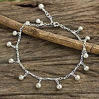 Sterling silver anklet, 'Concerto' - Fair Trade Sterling Silver Hand Crafted Anklet with Bells
