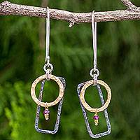 Gold plated garnet dangle earrings, 'Contrast' - Unique Gold Plated and Silver 925 Earrings with Garnets
