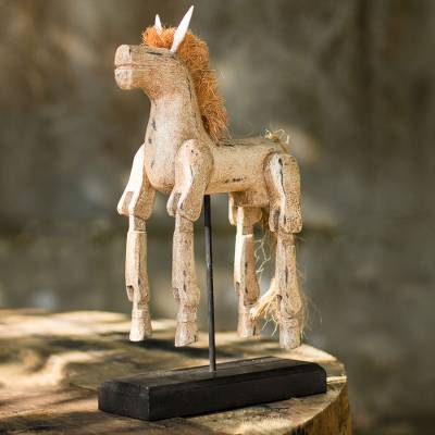 Wood sculpture, 'Beige Horse' - Artisan Crafted Wood Horse Sculpture with Antique Look