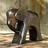 Wood sculpture, 'Thai Elephant' - Hand Carved Raintree Wood Sculpture from Thailand