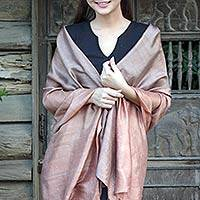 Silk shawl, 'Shimmering Cinnamon' - Brown Woven 100% Silk Shawl from Thailand