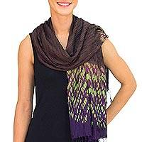 Tie-dyed scarf, 'Brown Purple Kaleidoscopic' - Tie-dye Silk Rayon Scarf Crafted by Hand in Thailand