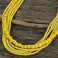 Wood beaded necklace, 'Island Dance' - Yellow Wood Bead Necklace Hand Crafted in Thailand