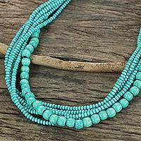 Wood beaded necklace, 'Bayou Dance' - Hand Crafted Necklace with Turquoise Blue Wood Beads