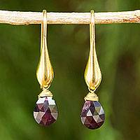 Gold vermeil garnet dangle earrings, 'Crimson Glamour' - Hand Made Dangle Earrings with 24k Gold Vermeil and Garnet