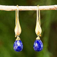 Gold vermeil lapis lazuli dangle earrings,