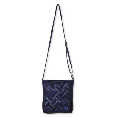 Blue Cotton Thai Applique Shoulder Bag with 3 Pockets