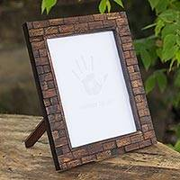 Upcycled teakwood photo frame, 'Natural Jigsaw' (7x9) - Hand Crafted Photo Frame Upcycled Teakwood (7x9)