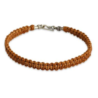 Braided Brown Leather Bracelet for Men Fair Trade Jewelry