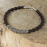 Men's leather and silver bracelet, 'Siam Puzzle' - Silver on Men's Leather Bracelet Crafted by Hand