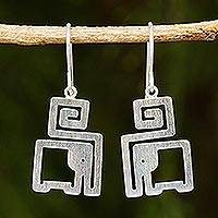 Sterling silver dangle earrings, 'Elephant in a Box' - Handmade Sterling Silver Modern Earrings with Elephant Theme