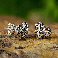 Sterling silver heart earrings, 'Filigree Love' - Hand Crafted Sterling Silver Filigree Heart Post Earrings