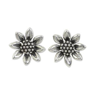 Handmade Sterling Silver Sunflower Earrings from Thailand