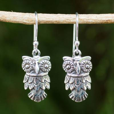 Sterling silver dangle earrings, 'Owl Love' - Hand Crafted Owl Dangle Earrings in Sterling Silver 925