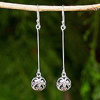 Sterling silver dangle earrings, 'Filigree Charm' - Silver Dangle Earrings Featuring Round Filigree Balls