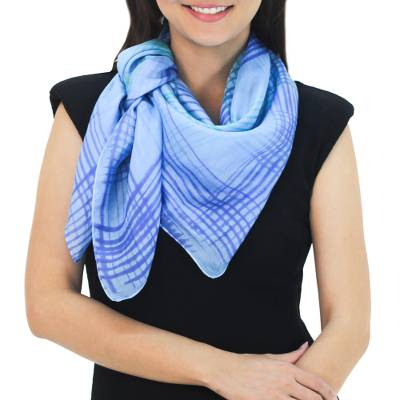 Silk scarf, 'Blue Plaid' - Thai Blue and Green Square 100% Silk Hand Dyed Scarf