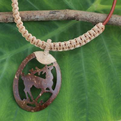 Leather and coconut shell pendant necklace, 'Happy Deer in Beige' - Coconut Shell Pendant on Hand Crafted Leather Necklace