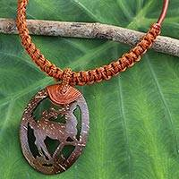 Leather and coconut shell pendant necklace, 'Happy Deer in Brown' - Artisan jewellery Coconut Shell and Leather Necklace