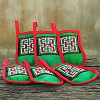 Hmong cotton blend ornaments, 'Christmas Joy' (set of 6) - 6 Hmong Hill Tribe Hand Embroidered Christmas Ornament Set