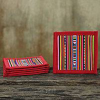 Cotton coasters, 'Lahu Red' (set of 6) - Thai Hill Tribe Cotton Patchwork Coasters (Set of 6)