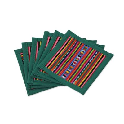 Hand Made Multicolored Cotton Patchwork Coasters (Set of 6)