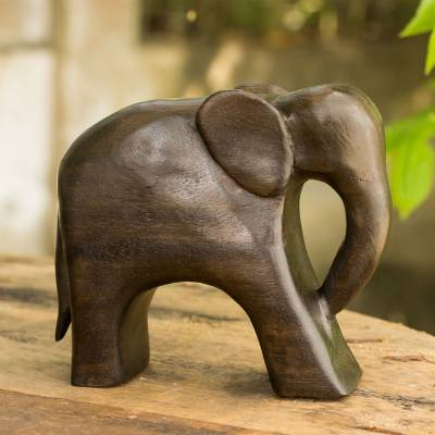 Wood sculpture, 'Brown Thai Elephant' - Hand Carved Thai Raintree Wood Brown Elephant Sculpture